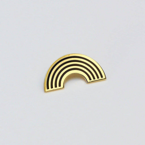 gold and black rainbow lapel pin badge