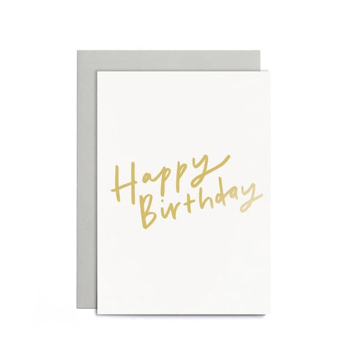 happy birthday small gold card