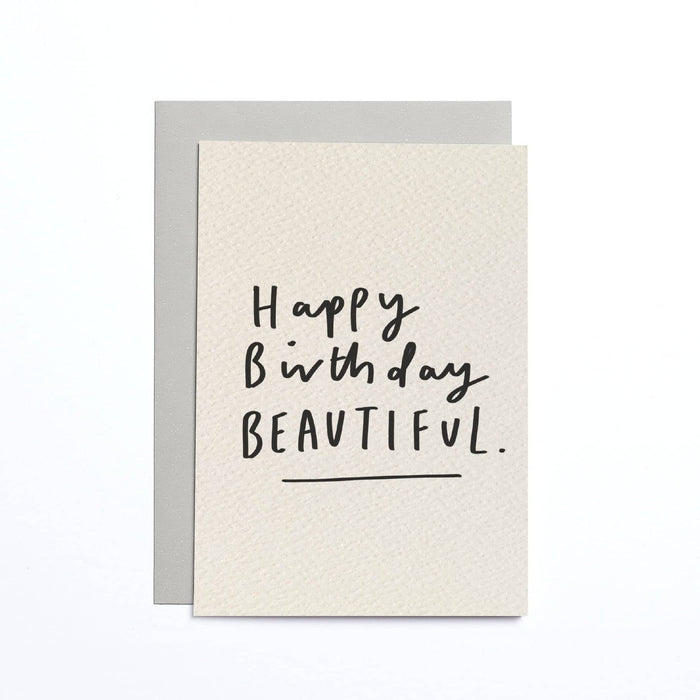 Happy Birthday Beautiful Cream Small Card