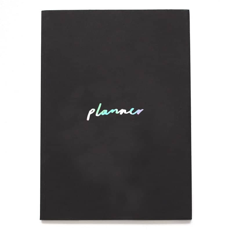 Black and Pearlescent A5 Planner
