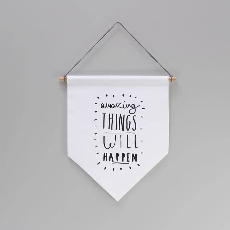 Amazing Things Banner Flag Typography Wall Hanging Old