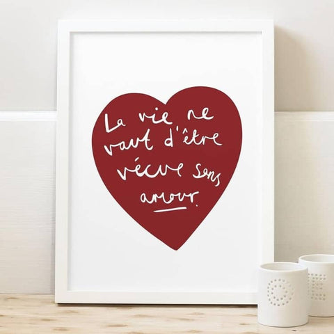 Amour French Heart Print