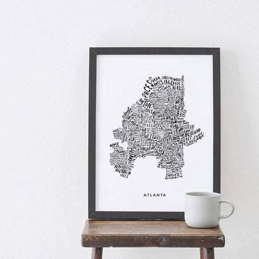 Atlanta White Map Print