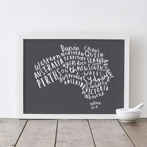 Australia places typography print