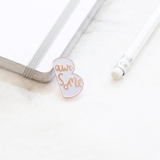be awesome rose gold enamel pin