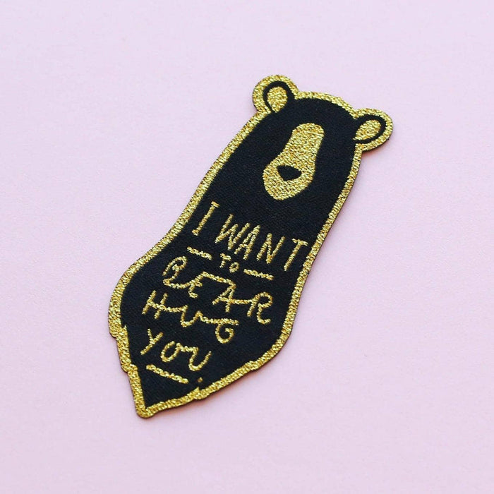 bear hug embroidered patch