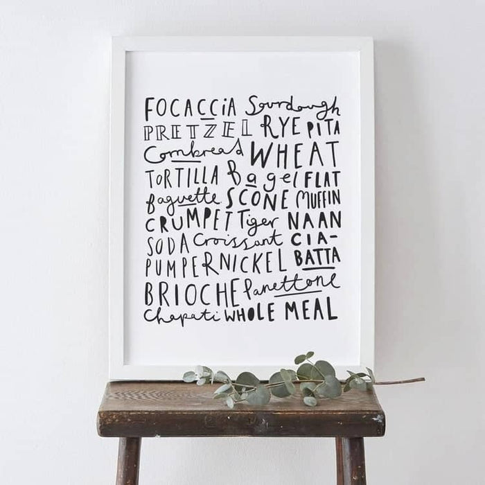 Bread types bakery typography print