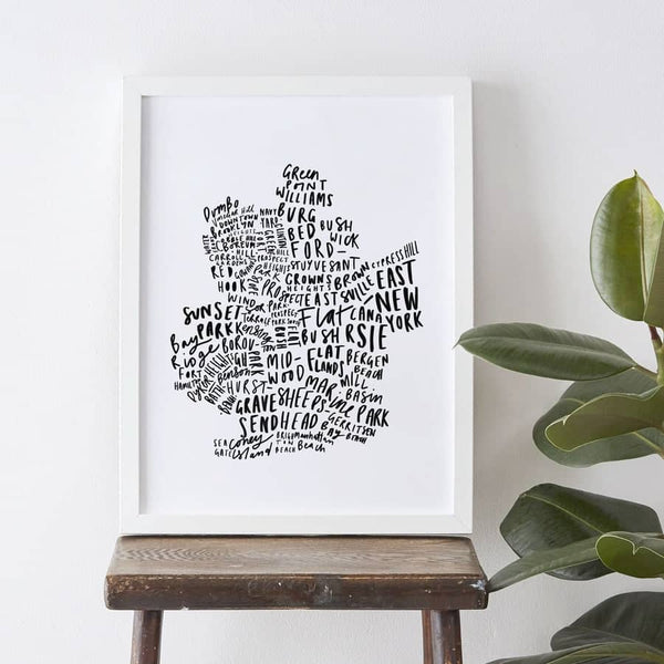 Hand Lettered Brooklyn map print