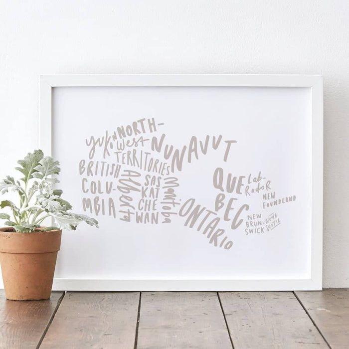 canada hand-lettered map print