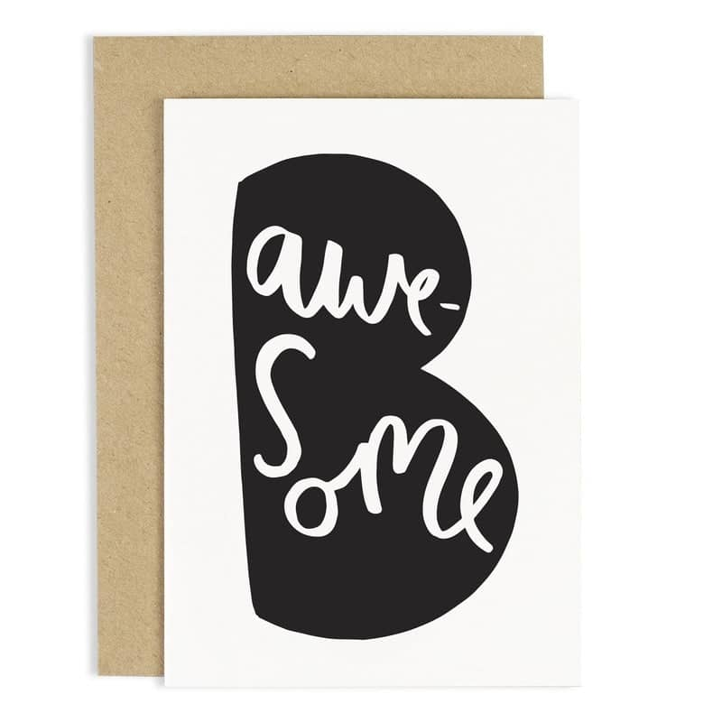 hand lettered be awesome card
