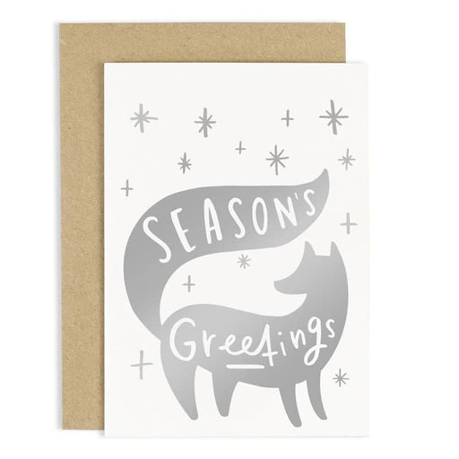silver seasons greetings christmas card