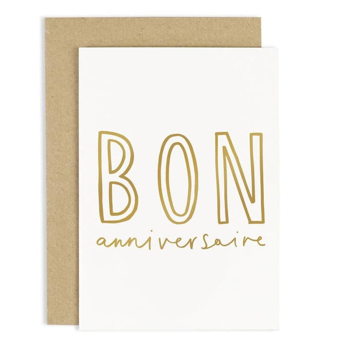 Bon Anniversaire Birthday Card Gold Foil Birthday Card Old