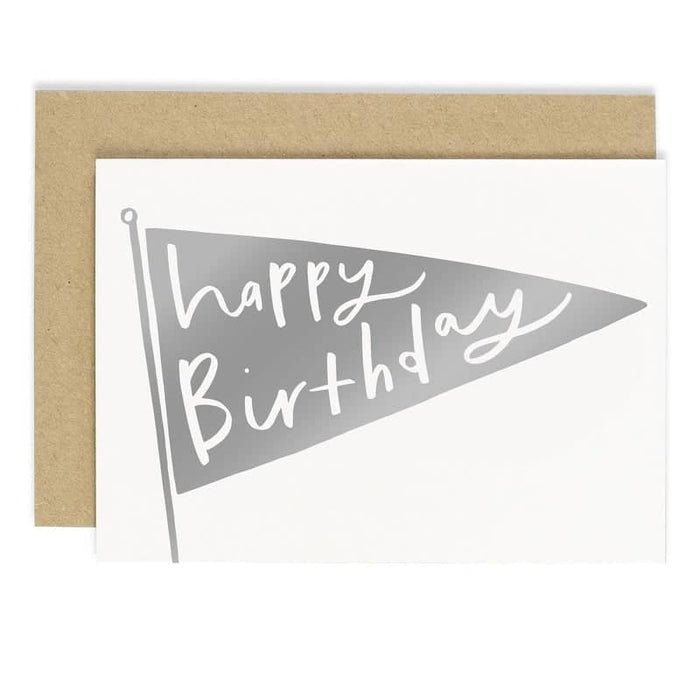 silver foil happy birthday flag card