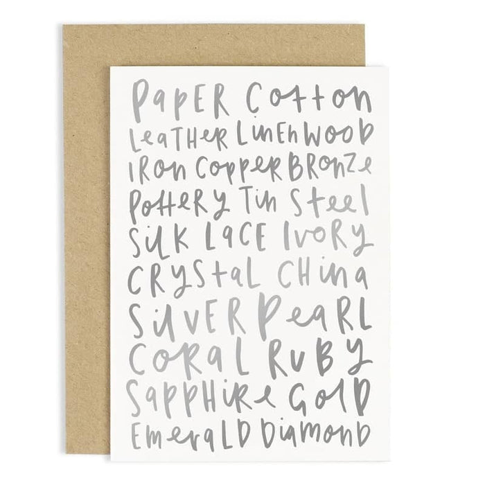 Anniversary Words Card — Old English Company - Hand Lettered Goods