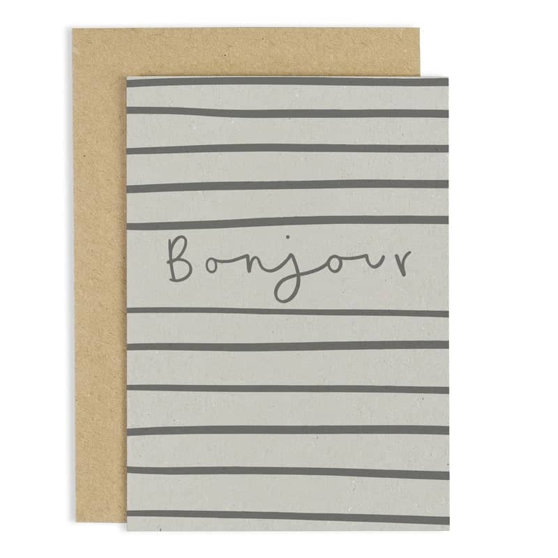 hand lettered bonjour greeting card
