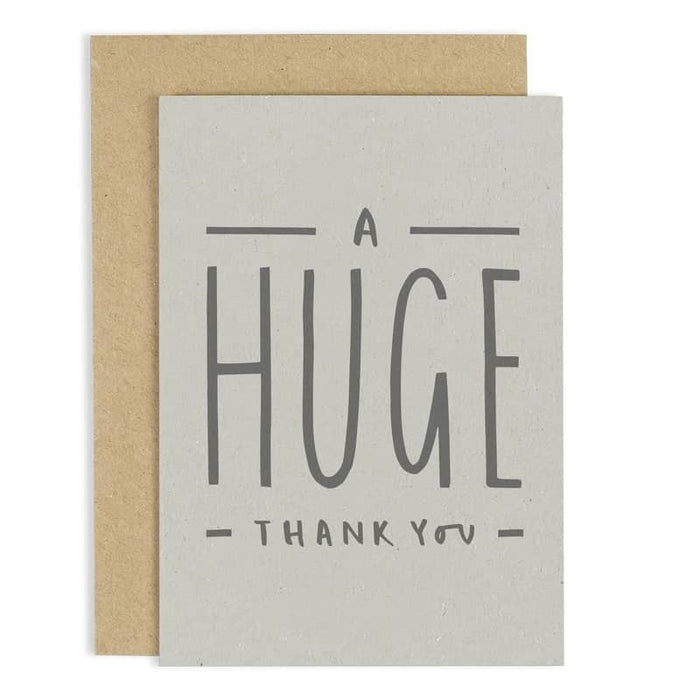a huge thank you card hand lettered card old english company