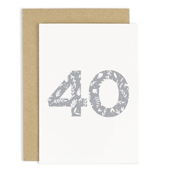Floral 40th Birthday Card