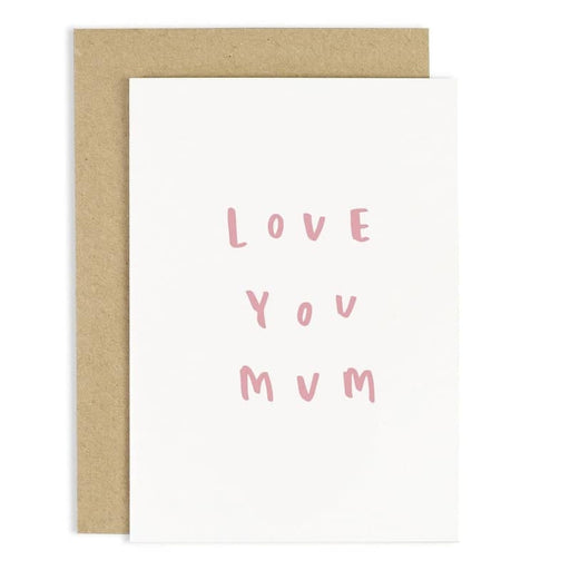 love you mum hand lettered greeting card