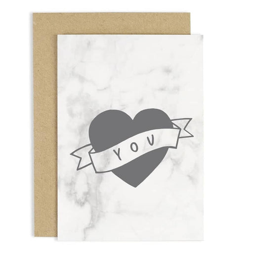heart you marble greeting card