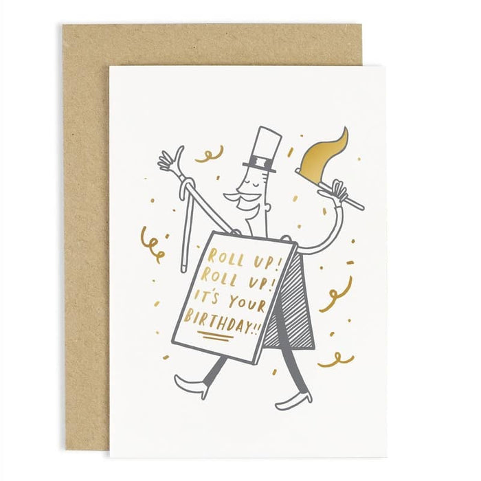 roll up birthday gold foil card