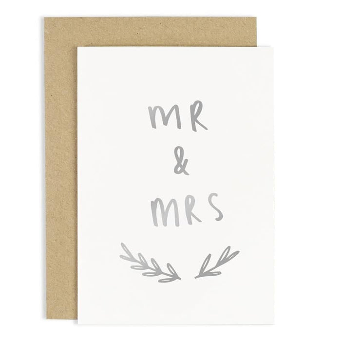 silver foil mr and mrs wedding card