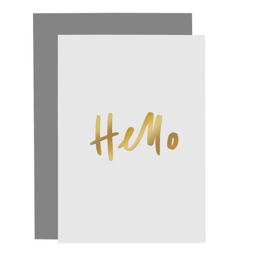gold foiled hello greeting card