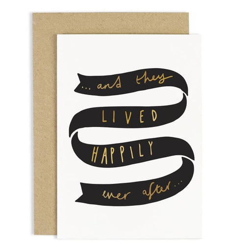 gold foil happily ever after wedding card