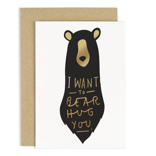 gold foil bear hug card