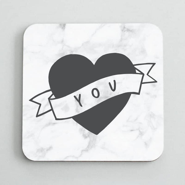 love heart tattoo coaster