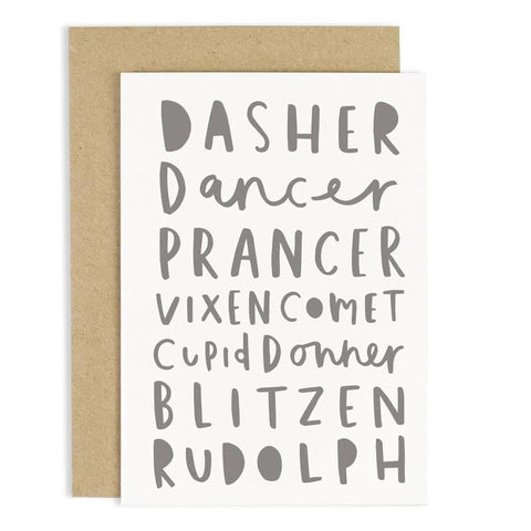 Reindeer Names Card