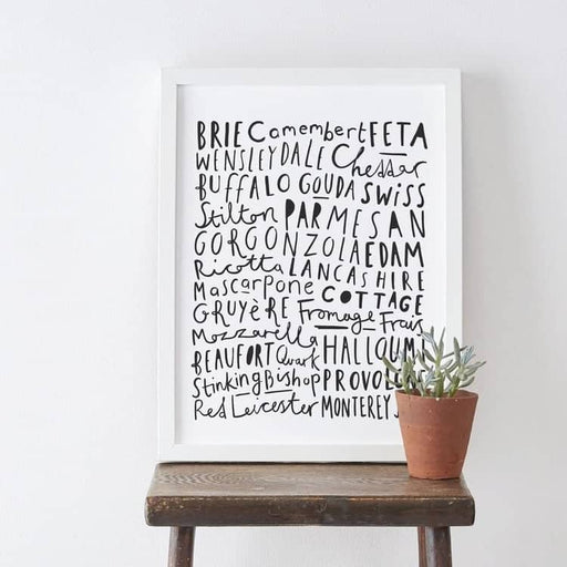 Types of cheese typography print