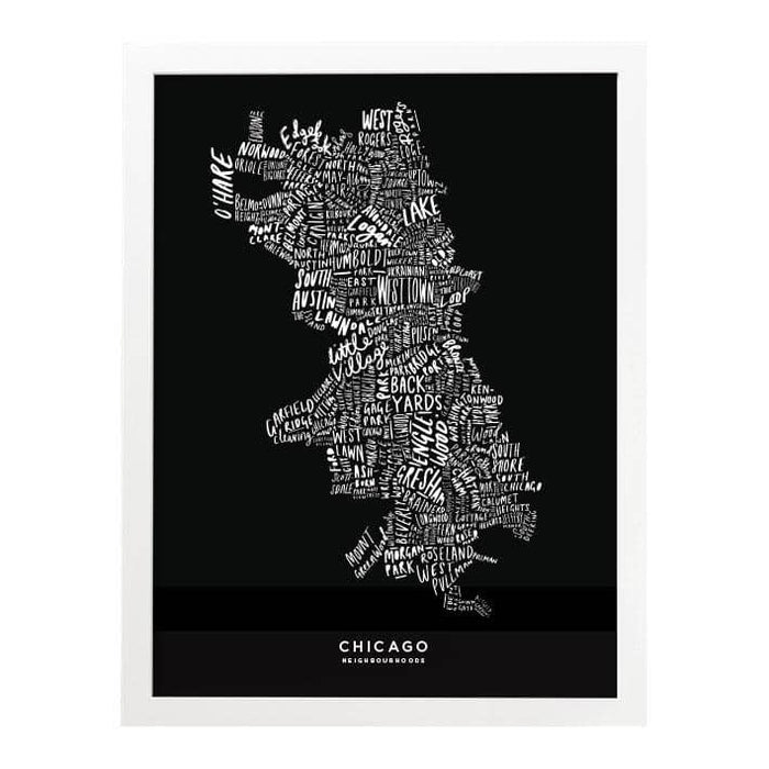 Chicago Black Map Art Print