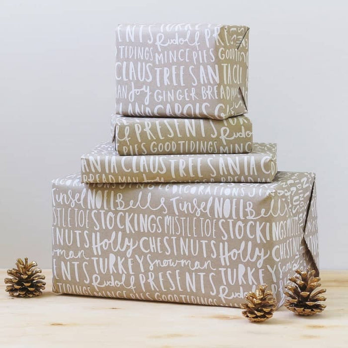 Christmas typography wrapping paper