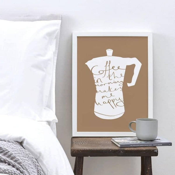 coffee in the morning typography print
