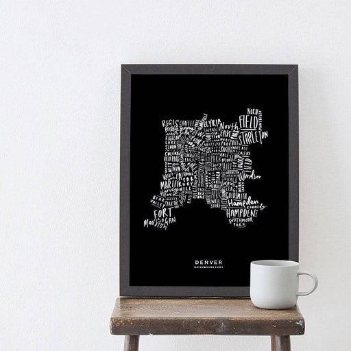 Denver Black Map Art Print