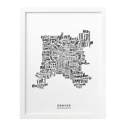 Denver White Map Art Print