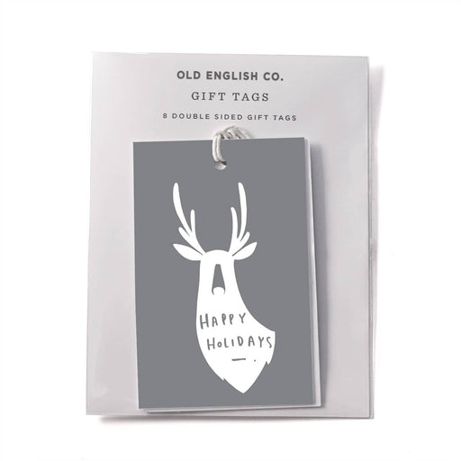 happy holidays christmas deer gift tags