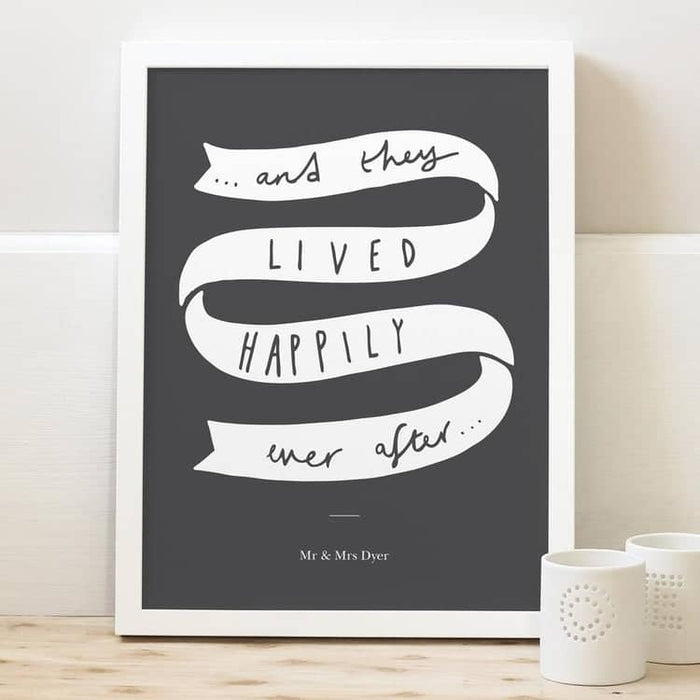 happily ever after wedding personalised typography print