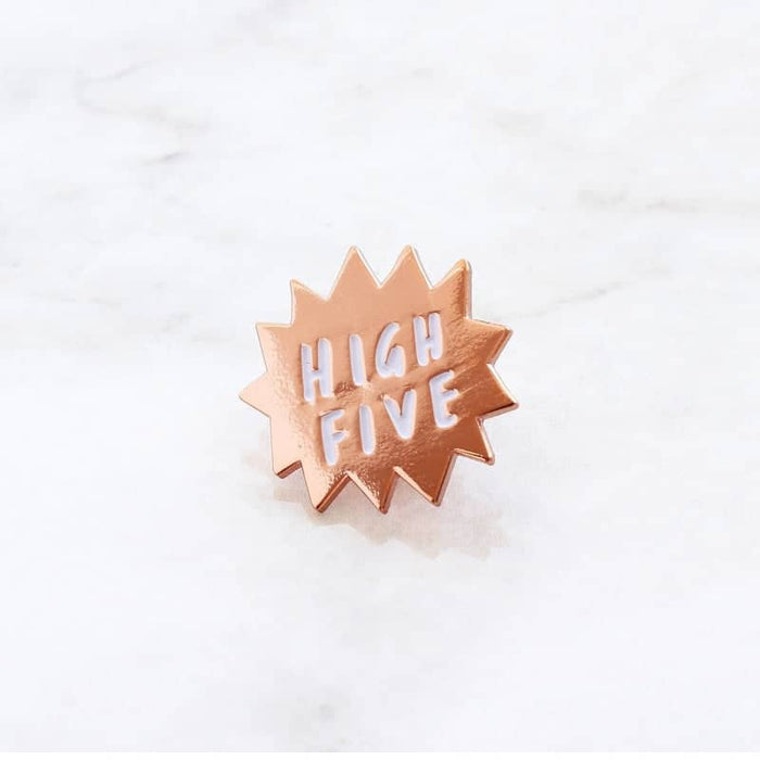 high five rose gold enamel pin