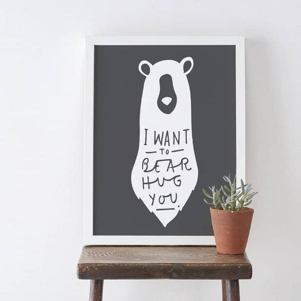 Bear illustration typography print charcoal grey