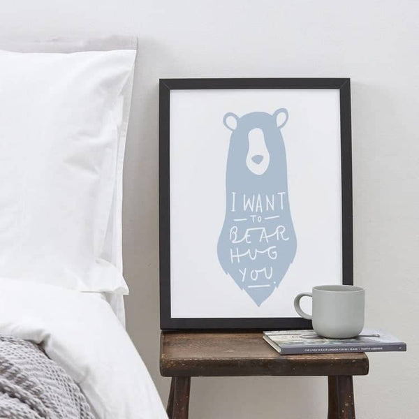I Want To Bear Hug You framed print storm blue