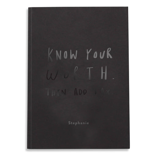 Know Your Worth Personalised BLACK Notebook