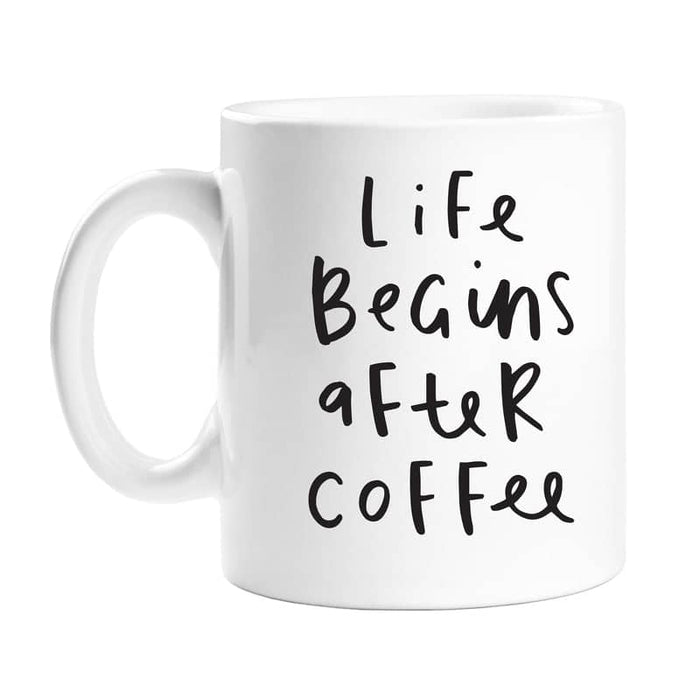 life begins after coffee mug