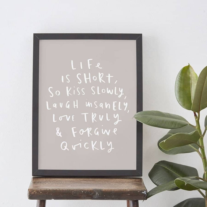 life is short typography print