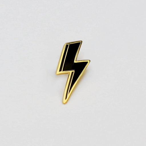 Lightning bolt enamel pin black and gold