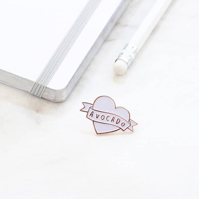 avocado rose gold enamel pin