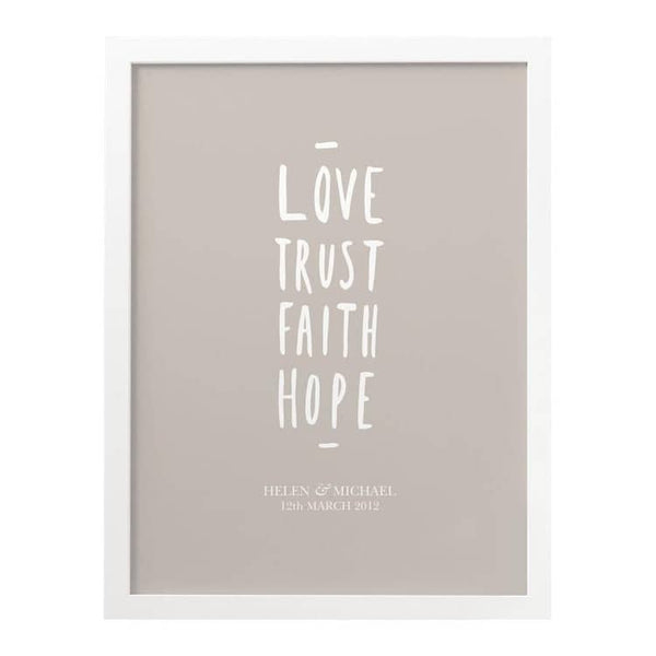 Love Trust Hope Wedding print