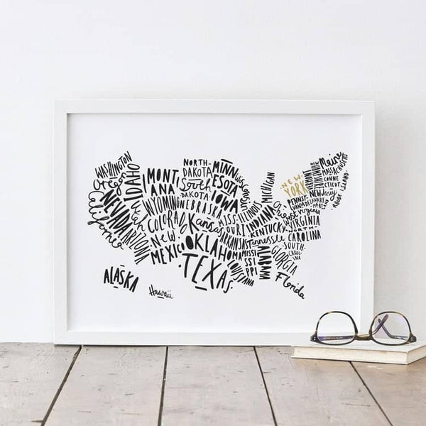 map of usa print