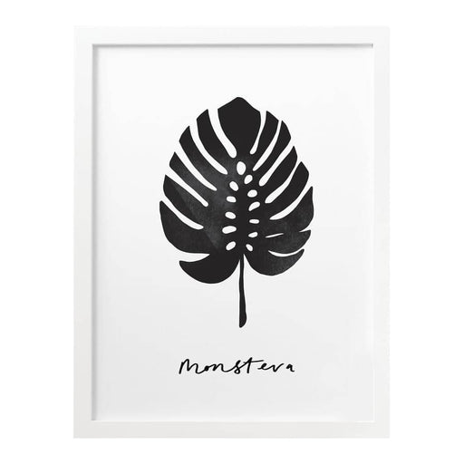 monochrome monstera plant print