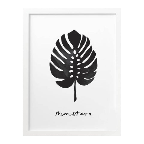 Monstera Plant Monochrome Print